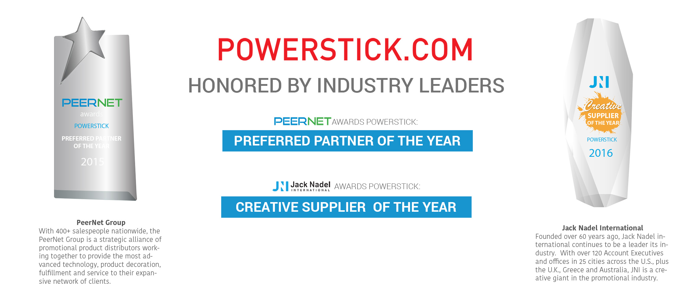 PowerStick.com honored by industry leaders