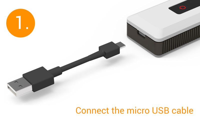 Connect the supplied micro USB to the charger