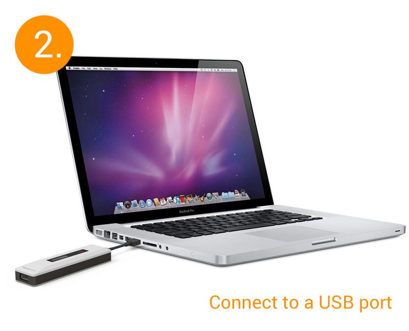 Connect to any standard USB port worldwide