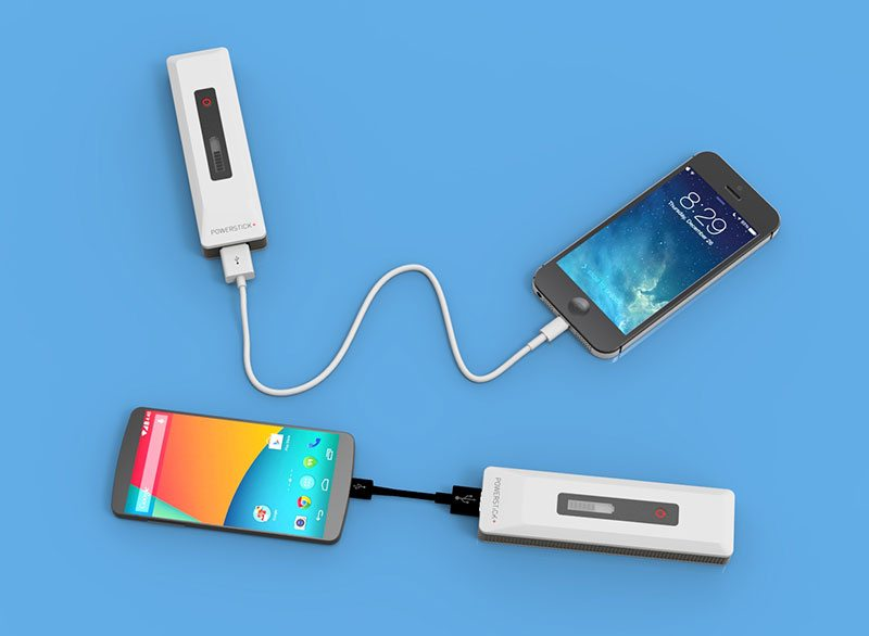 PowerStick charge charging a an iPhone and android phone