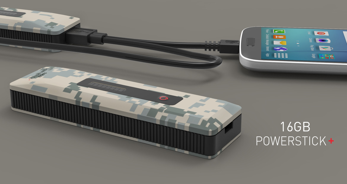 PowerStick PLUS+ 16GB charger with flash memory Camo