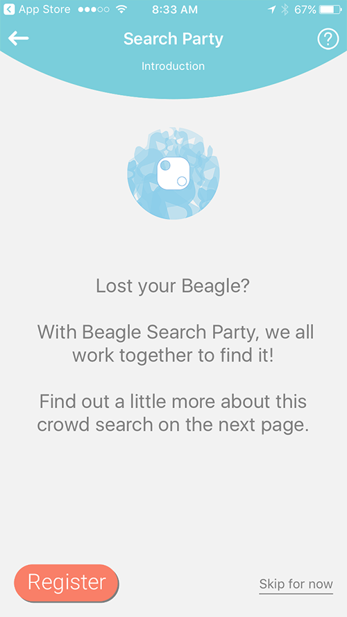 Search Party App Screen