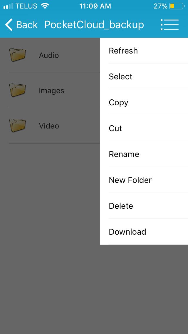Browse PocketCloud menu