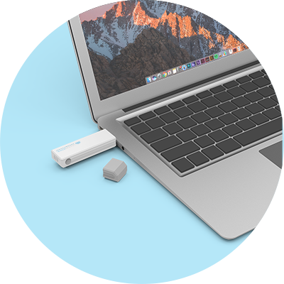 CloudStick plugged into a laptop